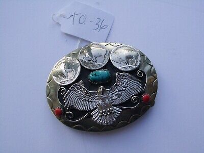 Belt Buckle 3 Nickles 1-Turquoise 2-Coral Eagle Southwest Made In Usa Tq-36 Nos
