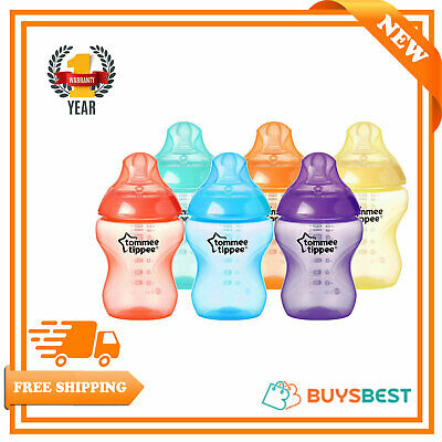 6 x Tommee Tippee Closer to Nature Fiesta Baby Feeding Bottles 260ml SlowFlow 0M