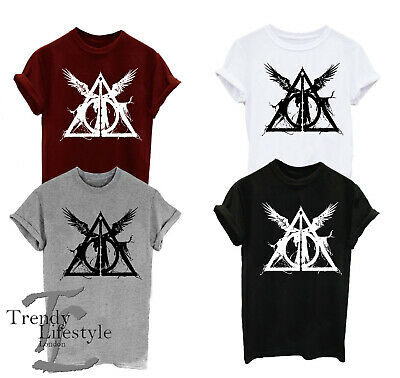 Harry Potter Inspired Triangle Deathly Hallows   Trendy Geek T-Shirt 4 Colors