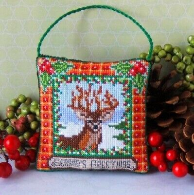 Christmas Stag Hanging Decoration Cross Stitch Kit, Sheena Rogers Designs