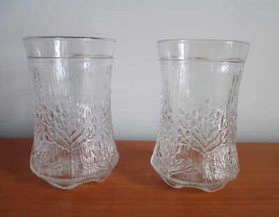 Dansk Italy Floriform 2 Tumblers Trees Cow Parsley 10 oz Textured Glass 1970s