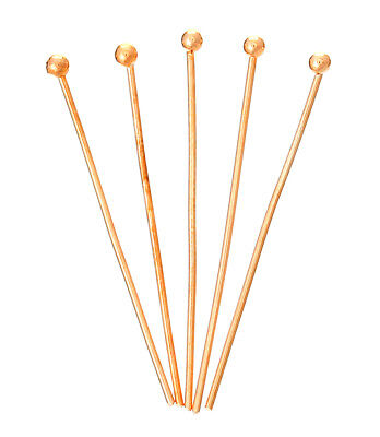 "1.12"" Rose Gold Plated Head Pin 21 Guage Round Ball Headpin Bead Supply Finding"