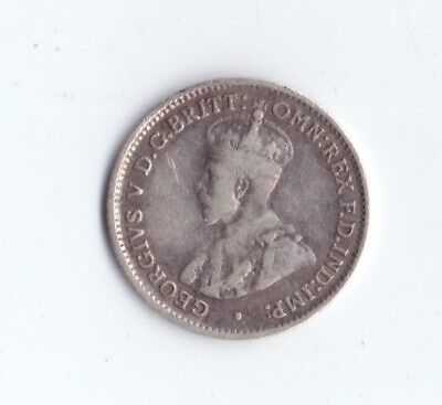 1923 Australian 1 One Silver Threepence Coin King George V Australia low mintage