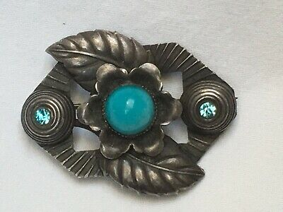 Vintage 1940s to 1950s Arts and Crafts style brooch blue Zircon glass rhinestone