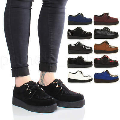 Womens Ladies Flatform Platform Lace Up Goth Punk Brothel Creepers Shoes Size