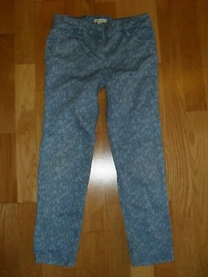 Girls blue print Vertbaudet slim fit trousers, adjustable waist, size 6-7 yrs