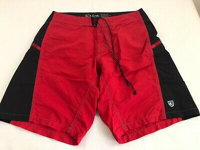 d5125f219c Men's KUHL Red Black Nylon Spandex Swim Trunks Board shorts Size 32