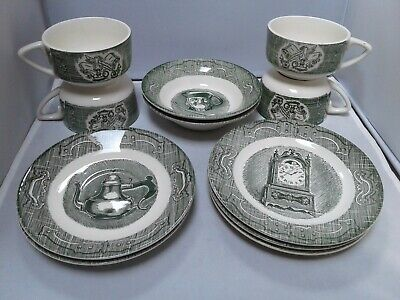 Old Curiosity Shop Green Pattern EUC Lot of 11 Plates, Bowls, Cups