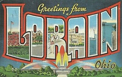Greetings From Lorain Ohio Large Letter Linen Postcard Dover Delaware