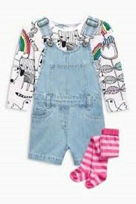 BNWT NEXT 3 Piece Denim Playsuit Dungaree Shorts Top & Tights Set 5-6 Y RRP £25