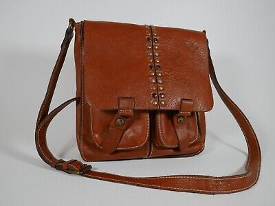 Patricia Nash Armeno Studded Crossbody Bag RUST Genuine Leather EXCELLENT!