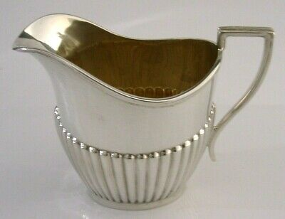 Nice Quality English Sterling Silver Fluted Cream Jug 1931