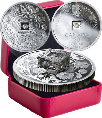 2019 Sparkle Heart $20 SilverProof Coin w/ FIRE AND ICE Canadian Dancing Diamond