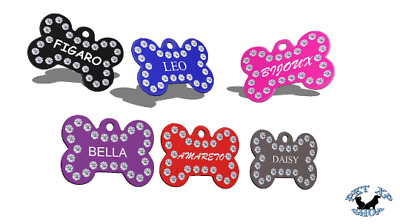 Rhinestone Pet ID Tag Bone Double Side Engraved Personalized Dog Cat Name Tag