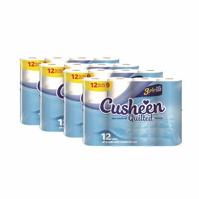 60 Cusheen 3Ply Quilted White Soft Toilet Rolls - (Unscented In Cherry Wrapper)