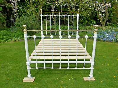 Victorian Cast Iron + Brass Double Bed. Polished brass + powder coated iron