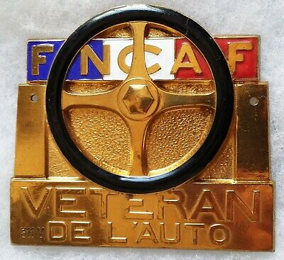 Plaque émail badge calandre Automobile Club de France VETERAN DE L'AUTO FNCAF