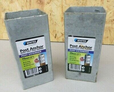 TWO  Heavy Duty Galvanised Fencing Post Extender   3 inch  75mm square