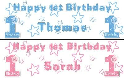 2 PERSONALISED HAPPY 1st BIRTHDAY BANNERS -CELEBRATE BOY OR GIRL FIRST BIRTHDAY