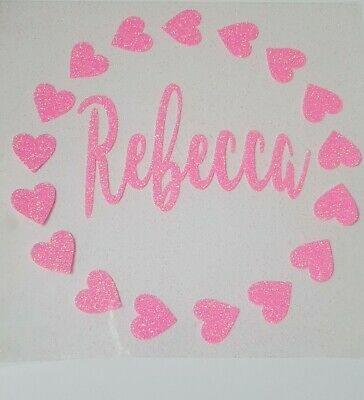 Personalised neon pink glitter heart circle iron on heat transfer in 17 colours