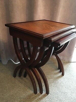 Mahogany Scissor Leg Nest of 3 Occasional Tables Reprodux