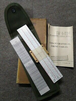 Rare WWII WW2 US Military M31 Graphical Firing Table Slide Rules 155mm NIB #86