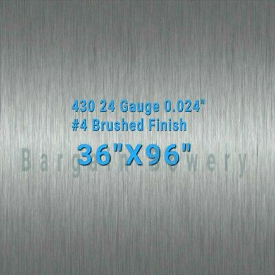 """430 Stainless Steel Sheet Wall Covering #4 Brushed 24 Gauge 0.024"""", 36"""" X 96"""""""