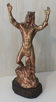 Vintage American Indian Young Chief Warrior Statue,with Wolf Head 16+ in. - 1983