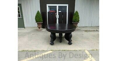 """C1890 60"""" Round Victorian Mahogany Northwind Carved Dining Table With 6 Leaves"""