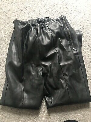 b091cd00f75224 TOPSHOP Faux Leather High Waist Black Skinny PU Trousers Size 6 .
