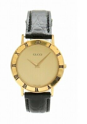 b4938e44755 Auth GUCCI GP Gold Plated Leather Belt Men s QZ Quartz Wrist Watch 3  MO 31780784