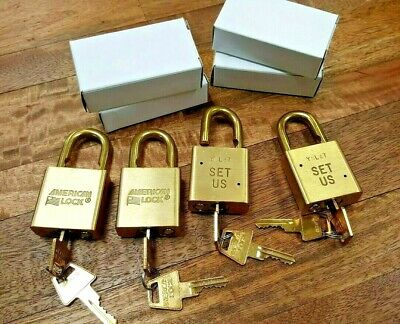 4 NEW AMERICAN LOCKS - Keyed Alike - SOLID BRASS - FREE SHIPPING Made in USA Lot