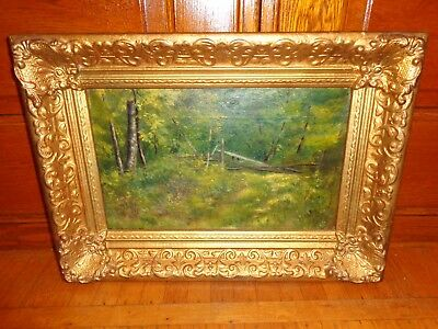 """Antique Oil Painting on Canvas of a Wooded Path """"Silent Woods"""" by G.T. Browne"""