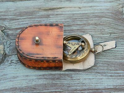 Antique Brass Compass Nautical Push Button Old Time Sundial Compass Victorian.