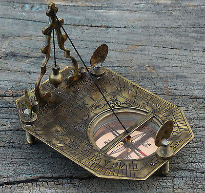 Solid Brass Pendulum Sundial Compass Nautical Maritime compass