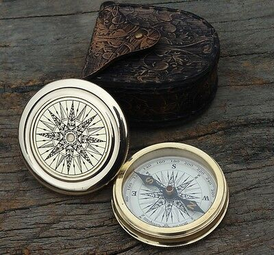 Antique Vintage Style Brass Pocket Compass W Leather Case Campaning Hiking