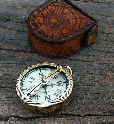 Solid Brass Antique Compass, Nautical Working Astrolabe Ship Instrument Gift