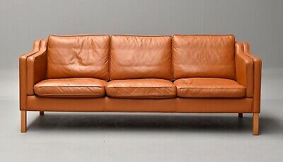 Danish Mid-Century Stouby 3 Seater Leather Sofa
