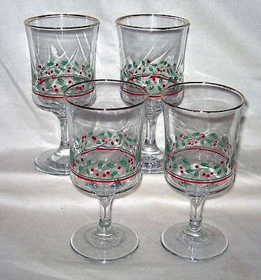 """#52 (4) Arby's Christmas Holly Berry Pattern Stemmed Water Wine 6 3/4"""" Goblets"""