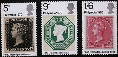 Philympia 70 stamp exhibition stamps, Elizabeth II, GB, SG ref: 835-837, MNH