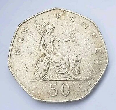 Fifty 50p New Pence Large Coin BRITANNIA 1976 - 1983