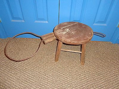 Antique Primitive Wood Milking Stool w Metal Pail & Rag Holder & Adjustable Pail