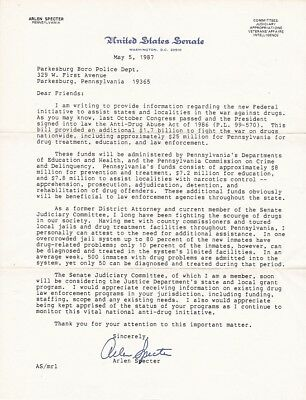 1987 United States Senate Letter Signed Senator Arlen Specter PA WAR on DRUGS