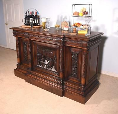 Antique French Renaissance Revival Pub Bar/Sideboard in Walnut