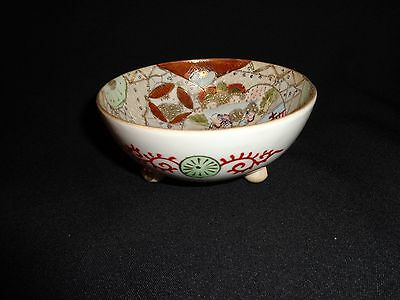 Small Vintage Japanese Hand Painted Porcelain 3 Footed Bowl