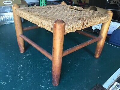 Vintage Wooden Stool With Woven String Top - For Restoration
