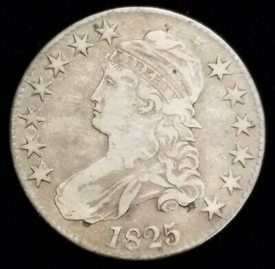 1825 Capped Bust Half Dollar 50c Coin in VF/XF Condition Nice Patina