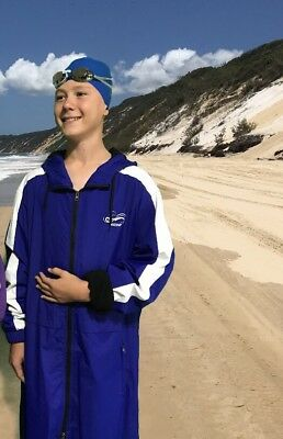 Swim Parka New Wazsup Royal Blue M pool deck coat, swim jacket, beach robe)