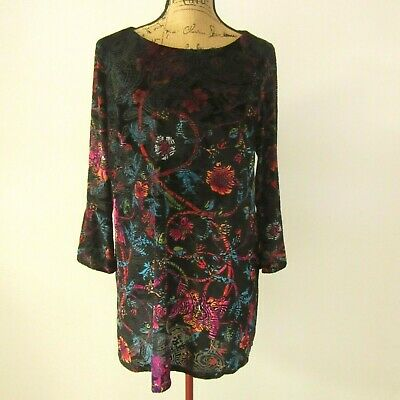 Beige by eci Burnout Velvet Bell Sleeve Shift Tunic Dress Black Multi-Color Sz L