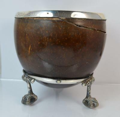 Rare Antique Solid Silver & Coconut Bowl on Claw Feet